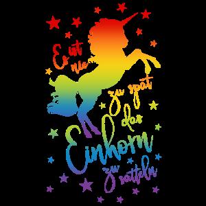 Einhorn satteln Spruch Regenbogen Sterne bunt