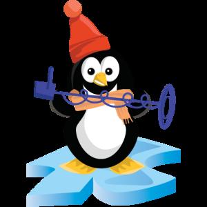 Sondler Pinguin sondelt mit Metalldetektor im Eis