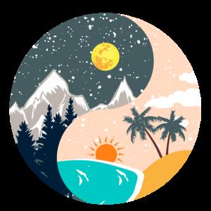 Ying & Yang - Sonnenuntergang & Berglandschaft