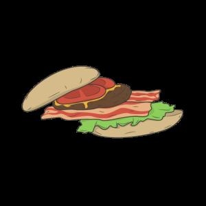 Burger Salat Speck Fleisch Senf und Tomate