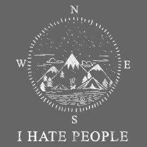 I Hate People Shirt Kompass Berge Natur Geschenk