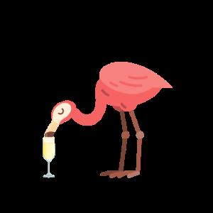 Flamingo der Sekt Champagner trinkt