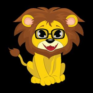 Süßes Löwenkind Motiv mit Brille und Mähne
