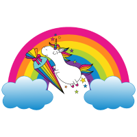 Einhorn Einschulung Schule Regenbogen Sterne bunt