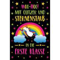 Poster Einhorn Einschulung Schule Erste Klasse sw