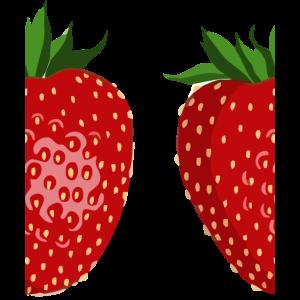 PopArt Comic Erdbeere geteilt