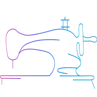 Nähmaschine Lila Rosa Blau Linie