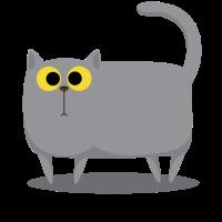 Cat T-Shirt Gray Standing