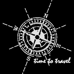 Kompass time to travel weiß