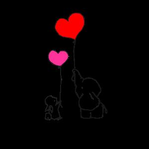 Ballon Herzen Valentinstag - Häschen mit Elefant