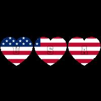 USA Herzen Stars and Stripes Flagge