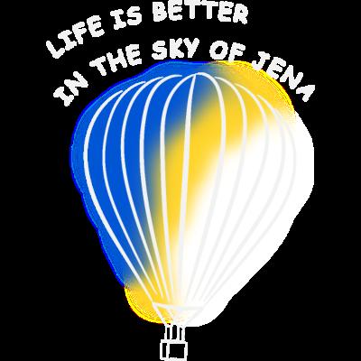 Heißluftballon Fahrt in Stadt Jena - Geschenk Idee - Ein Design für alle, die die Freiheit beim Fliegen über Jena lieben. Wenn der Wind um die Ohren bläst und die Aussicht atemberaubend ist. Ein super Geschenk für jenaer Heißluftballon-Flieger. - jenaer,balon,stadt,ballonteam jena,jenenser,städtename,Jena,geschenk,sommer,heißtluftballon,luftballon,balloon,ballonteam,ballonfahrt,wolken,ballon,Ballon,fliegen,flieger,idee,freiheit,fahrt,deutschland,thüringen,sonne