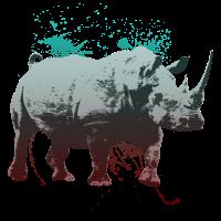 Nashorn-Zeichnung mit Verlauf gesprenkelt