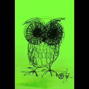 Eule - neon grün