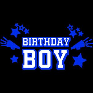 """Text """"Birthday Boy"""" mit Sternen und Megaphon"""