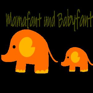 Mammafant und Babyfant Elefanten T-Shirt