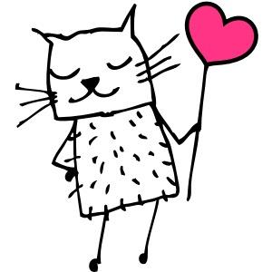Katze mit Herz: Liebe
