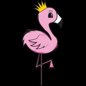 Kleiner süßer Flamingo mit Krone