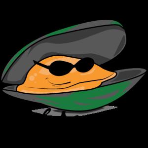 Entspannte Muschel mit Sonnenbrille