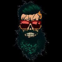 Kopf des Totenkopfschädel-Hipsters bärtiger Bartschnurrbart