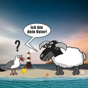 Ich bin dein Vater   Möwe Schaf Meer Poster Bild