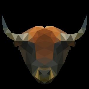 Bison Polygon Rind Tier Vieh Geschenkidee