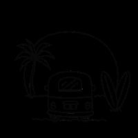 Sunset surfer / camping, van, road trip, travel,