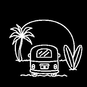 Sunset surfer / Camping, beach, van, road trip,