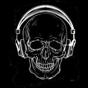 Totenkopf Schädel mit Kopfhörern Skilett
