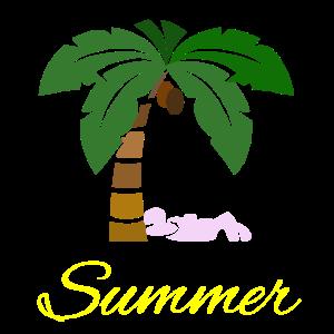 Im Sommerurlaub unter den Palmen liegen