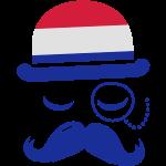 Niederlande Nation modische retro ikonischen Gentleman mit Flagge und Schnurrbart Olympischen Sport Fußball