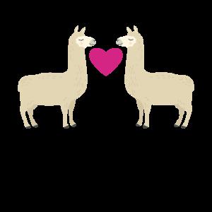 Verliebtes Lama Pärchen Geschenk Freundin Frau