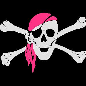 Piratenschädel mit pinkem Kopftuch. Geschenkidee!