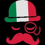 Italië nationaal modieuze retro iconische heer met vlag en snor Olympische sport voetbal