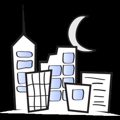 Stadt bei Mond - Stadt bei Mond - halbmond,Mond,Stadt,Haus,Hausbau
