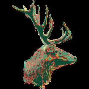 Hirsch Kopf mit Hals Grün Rot Illustration