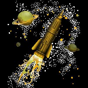 Steampunk Rakete im Weltall, Geschenkidee