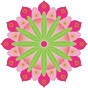 Mandalablume, Rosa und Grün