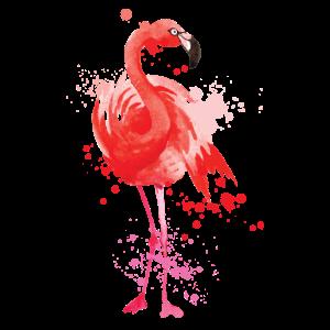 Flamingo Watercolor wundervolle Geschenkidee rot