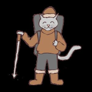 Katze als Bergsteiger Wandernstock und Rucksack