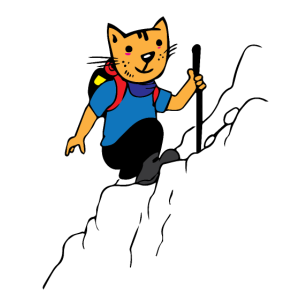 Katze als Bergsteiger geht Wandern, Geschenk Idee