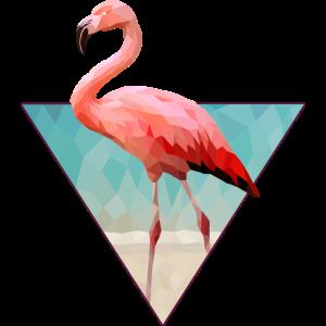Low Polygon pinker Flamingo am Strand