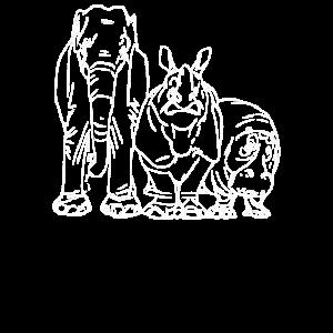 Elefant Nashorn Nilpferd