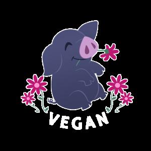 Vegan Pflanzen Süßes Schwein Tierfreund Geschenk