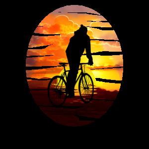 Fahrradfahrer bei Sonnenuntergang - Geschenkidee