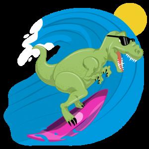 Cooler Tyrannosaurus Rex Surfer - Dinosaurier Dino