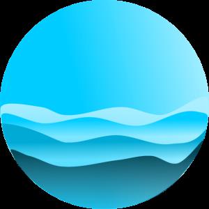 blaue Berge oder hohe Wellen Kreis rund Logo Meer