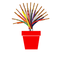 colorful wires flower pot