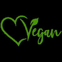 Vegan mit Herz Veggie Vegetarisch Natur Grün V