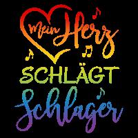 Mein Herz schlägt Schlager Regenbogen Spruch Musik